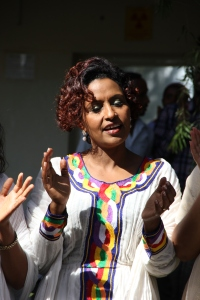Azeb,director of physical therapy at the Addis Ababa Fistula Hospital, celebrates Catherine's birthday.