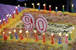 The birthday cake - with 90 candles!  (It took two cakes!)