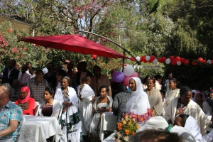 Birthday crowd on the lawn of the Addis Ababa Fistula Hospital